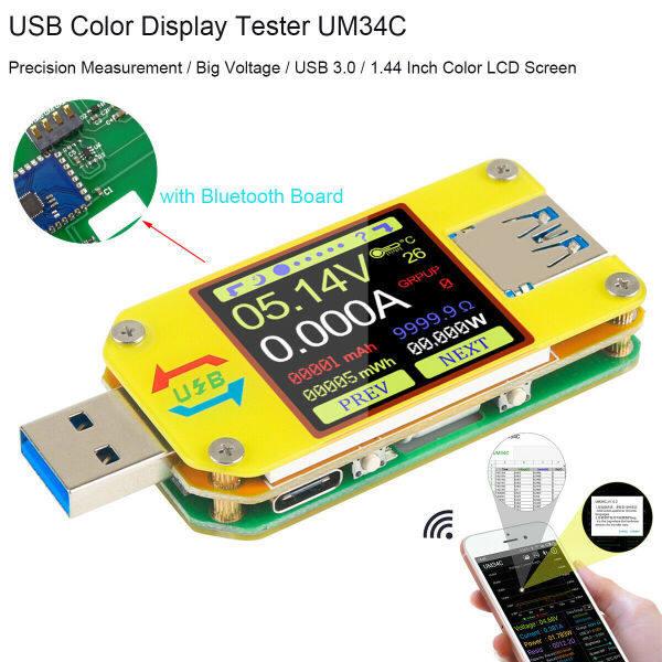 Máy Kiểm Tra USB 3.0 HOUPSE UM34 Type-C, Vạn Năng Máy Đo Dòng Điện Áp Vôn Kế Ampe Kế, Bộ Kích Hoạt PD 2 Chiều Kỹ Thuật Số 4-24V 0-4A