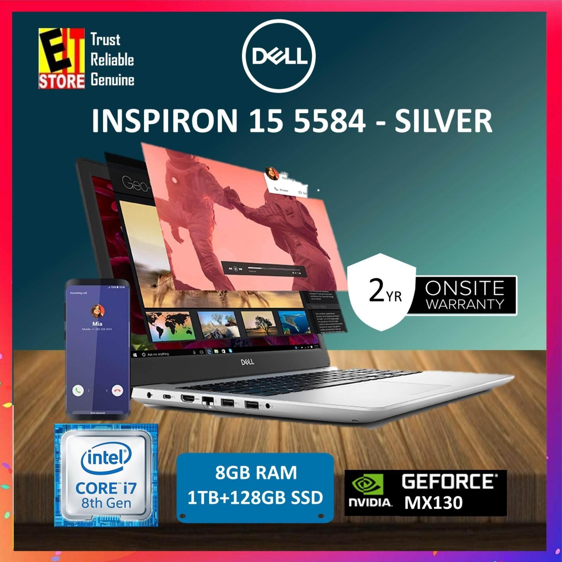 DELL INSPIRON 5584 (5584-85814G-W10-FHD-SSD) SILVER - I7-8565U/8GB/1TB+128GB SSD/15.6/MX130 4GB/W10/2YRS Malaysia