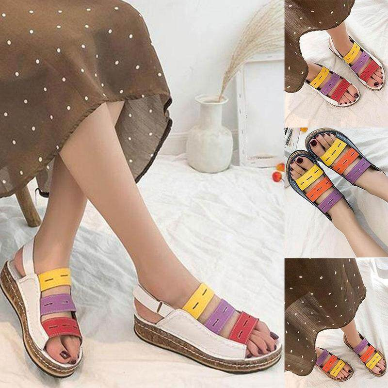 489ddce95 NEW Women Sandals Summer Three-color Stitching Sandals Open Toe Women 2019