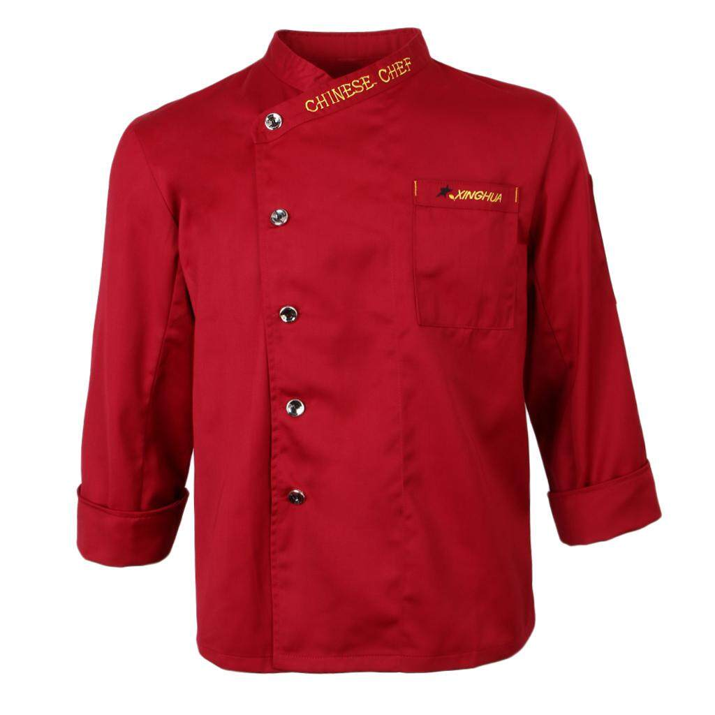 Fenteer Unisex Chef Jackets Coat Long Sleeves Shirt Hotel Waiters Kitchen Uniforms