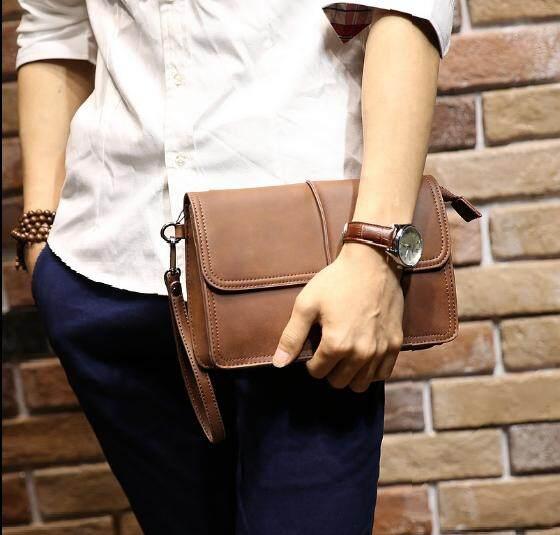 Men Fashion Retro Horse Leather Large Brown Clutch Handbag