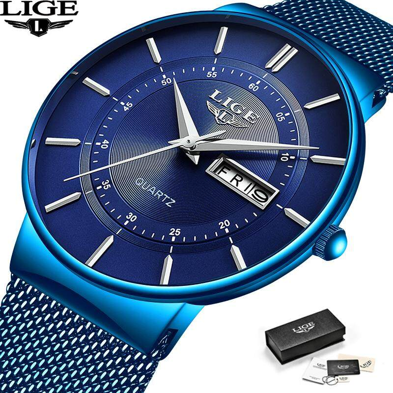 LIGE 2019  New All Blue Fashion Simple Mens Watches Waterproof Stainless Steel Mesh Watch Man Analog Quartz Business Casual Slim wristwatch Malaysia