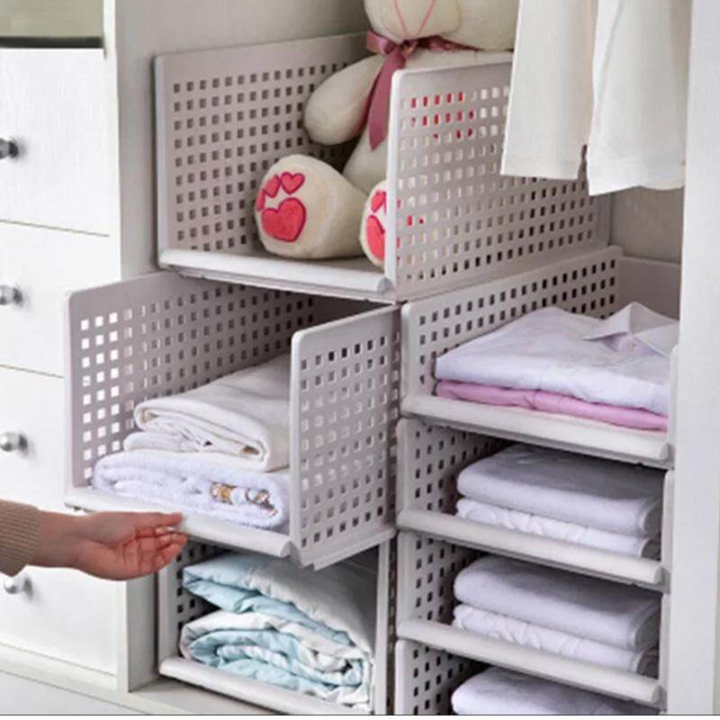 1PCS Detachable clothes organizer wardrobe partition board rack drawer clothes storage box bedroom multi-layer stackable storage rack Wardrobe Organisers