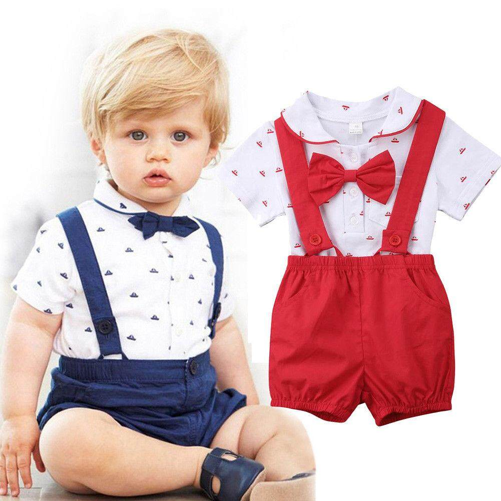 ca6da609dab 2Pcs Newborn Infant Baby Boy Top Bodysuit Romper Suspenders Pants Outfit  Clothes