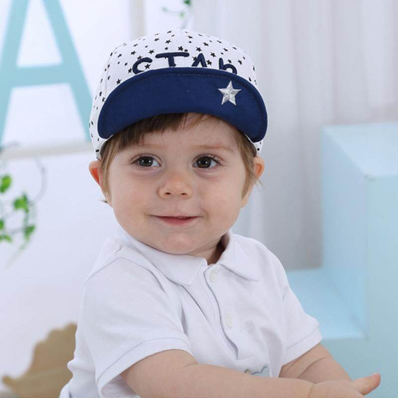 8b963c6b425 COD Cotton Baby Hat Spring Autumn Baby Boy Girl Baseball Cap Kid Letters  Embroidery Stars Print