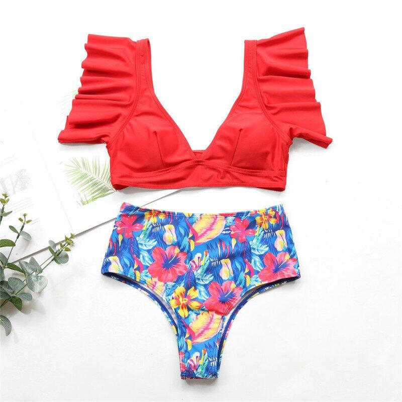 Nâng Bikini 2020 Tees Mùa Hè Eo Cao Bikini Đồ Bơi Đồ Bơi Phụ Nữ Hoa Đồ Bơi Quần Áo Đi Biển Bộ Đồ Tắm Có Ruffle Duy Nhất Khuyến Mại Hôm Nay