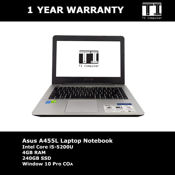 Asus A455L Intel Core i5-5200U 4GB RAM 240GB SSD Laptop Notebook Malaysia