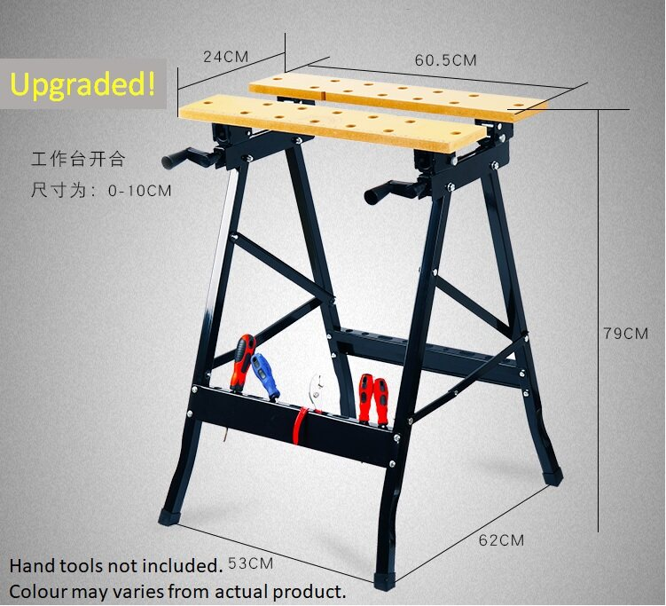 PORTABLE FOLDABLE WORKBENCH WITH CLAM, PEGS AND TOOL HOLDERS