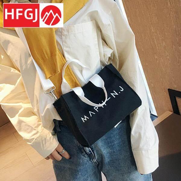 Ladies Canvas Handbag Simple Letter Printed Shoulder Crossbody Bag with Removable Strap