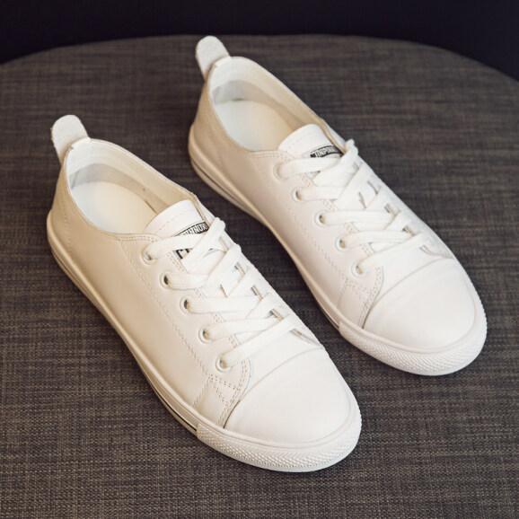 Giày Da Thật Màu Trắng Cho Nữ, Giày Lưới Nữ Nổi Tiếng Cơ Bản Phù Hợp Với Mùa Xuân 2020, Giày Bệt Học Sinh Kiểu Hàn Quốc Thường Ngày giá rẻ