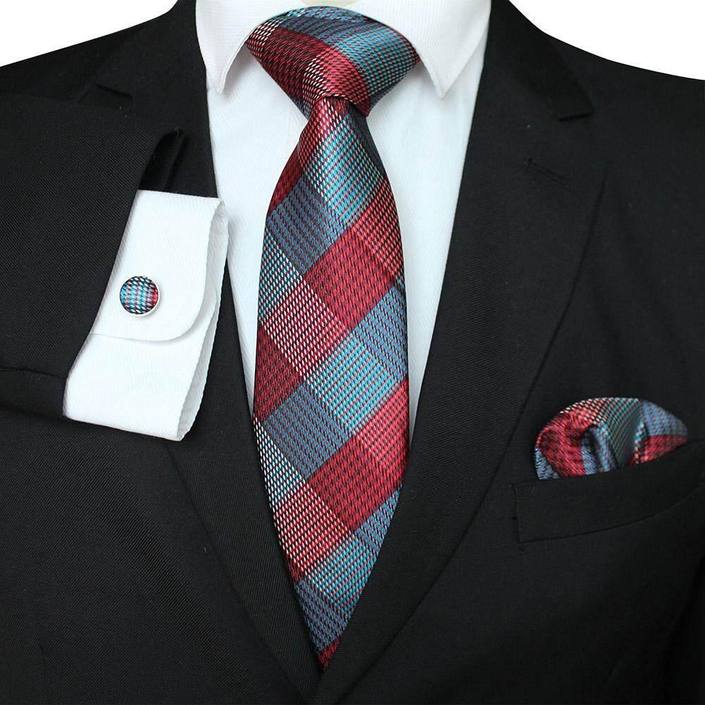 4ff6370586af SunnyShop Men Business Classic Polyester Silk Tie Necktie Set Necktie +  Kerchief + Cuff-link