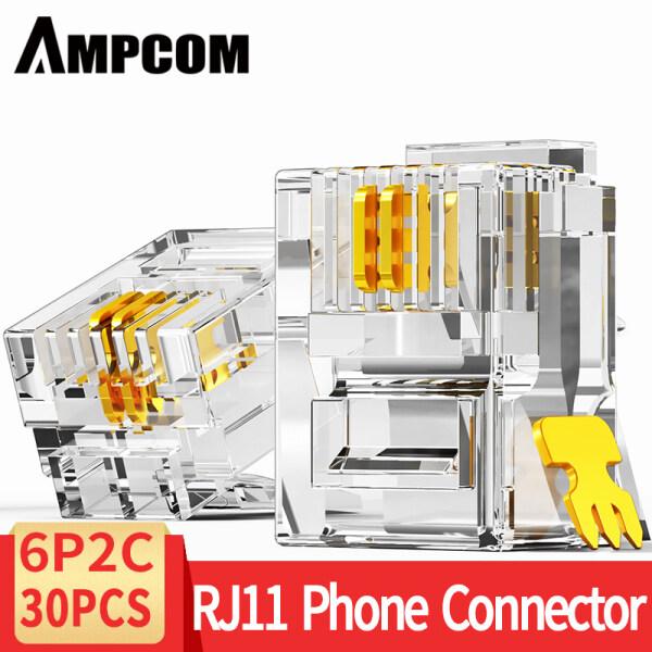 AMPCOM RJ11 Plug 6P4C 6P2C Phone Modular Telephone Cord Connector Adapter Crimp Telephone Internet Modular Plug Jack