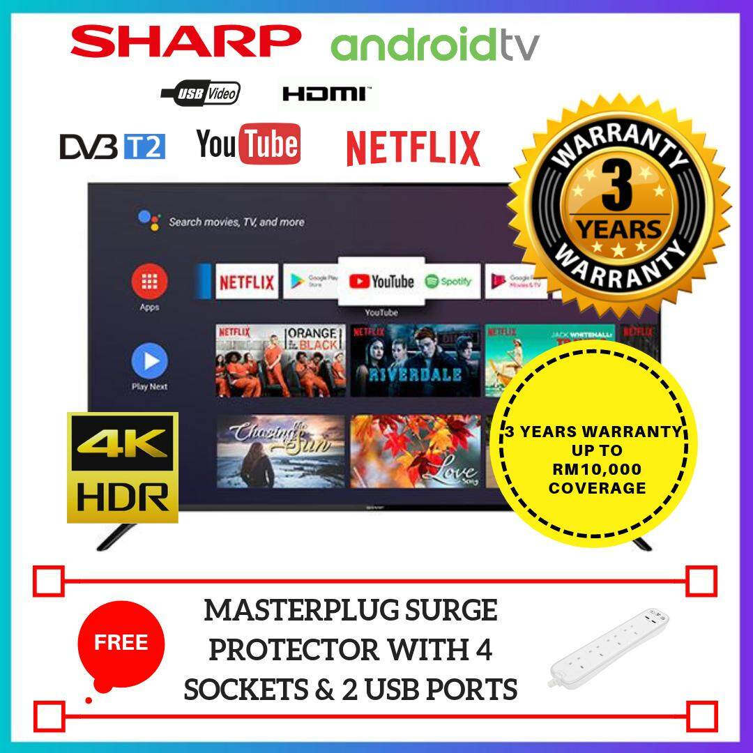 Sharp 50 Inch 4K UHD Android Smart Slim TV LC50UA6800X - 3 Years Warranty Coverage up to RM10,0005