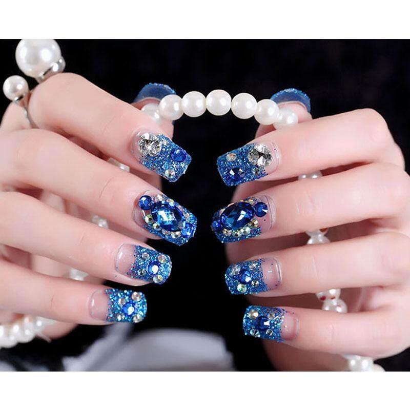 24 Pcs/Set Blue Bright Shining 3D Diamond Rhinestone Fake Nail For Women Bride Full