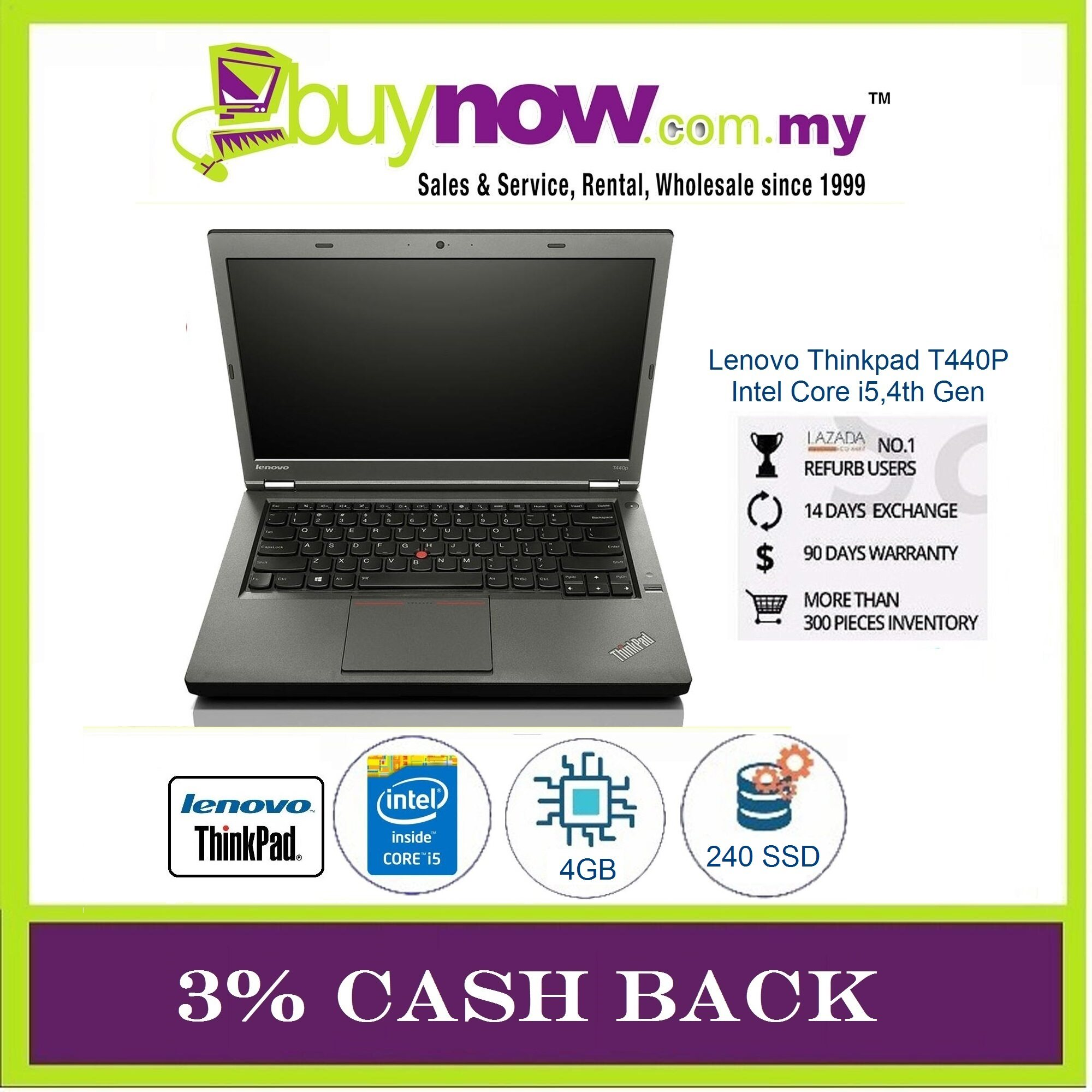 Lenovo Thinkpad T440P T440 Laptop Notebook Intel Core i5-4200M 4th Gen 2.5GHz, 4GB RAM / 240GB SSD / Window 8 Pro 64-Bit / Free Notebook Bag / 30 Days Warranty (Factory Refurbished) Malaysia