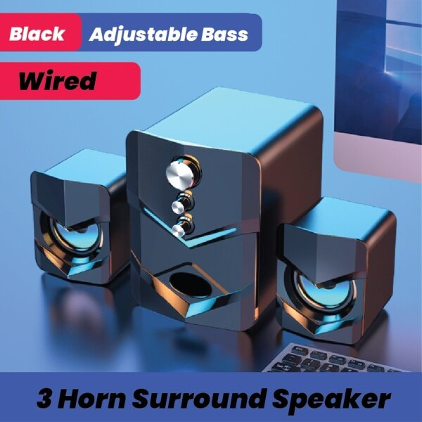 SADA D-222 3 in 1 Home Speaker Set 3.5mm Wired Computer PC Speaker USB Wired Computer Speaker Set Malaysia
