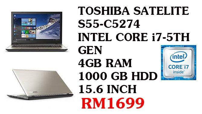 PROMOSI HEBAT TOSHIBA SATELITE  i7-5TH GEN 4 GB RAM 1000 GB HDD 15.6 INCH Malaysia