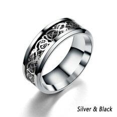 Dragon Nhẫn Cacbua Vonfram Hình Rồng Celtic Màu Đen Sợi Carbon Màu Xanh Dương 8Mm Cho Nam Ban Nhạc Đám Cưới, Sơn Bóng Khảm Rồng Kết Thúc