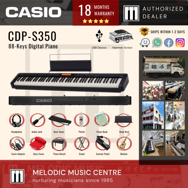 Casio CDP-S350 88-keys Digital Piano Portable Package with Piano Bench, Ukulele, Pedal, Book, Keyboard Stand, etc. (CDPS350) Malaysia