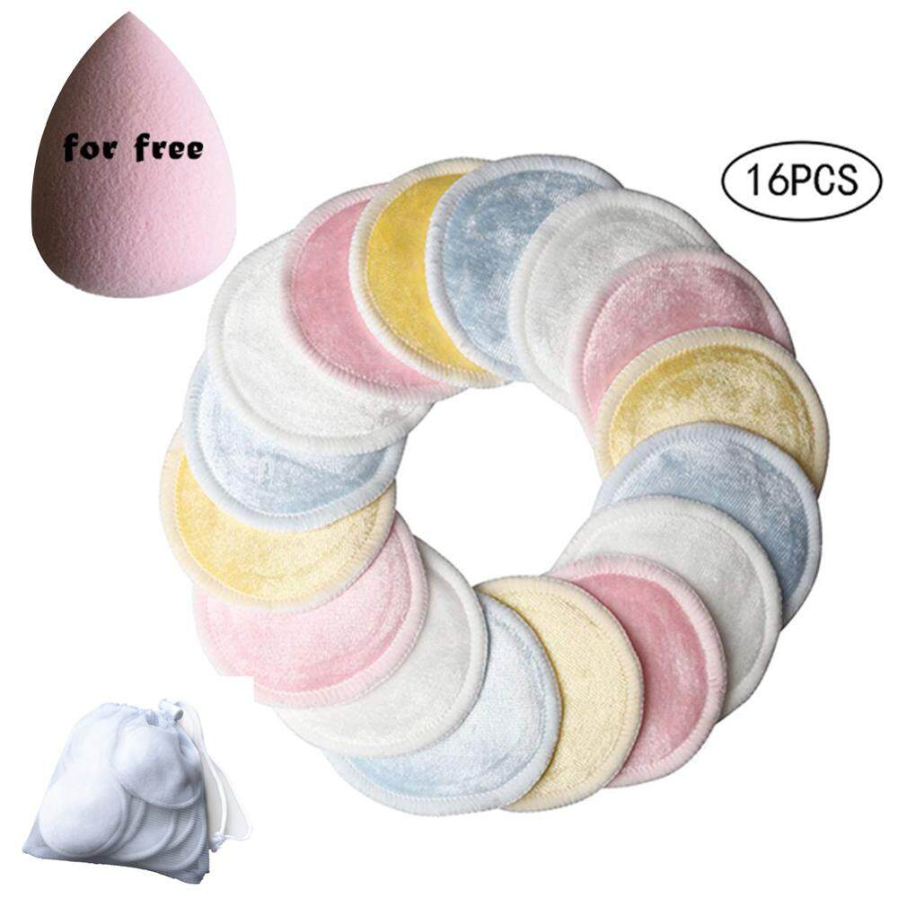 [Yulikeit]18pcs Reusable 3 Layers Makeup Remover Pads Washable Facial Cleansing Pad
