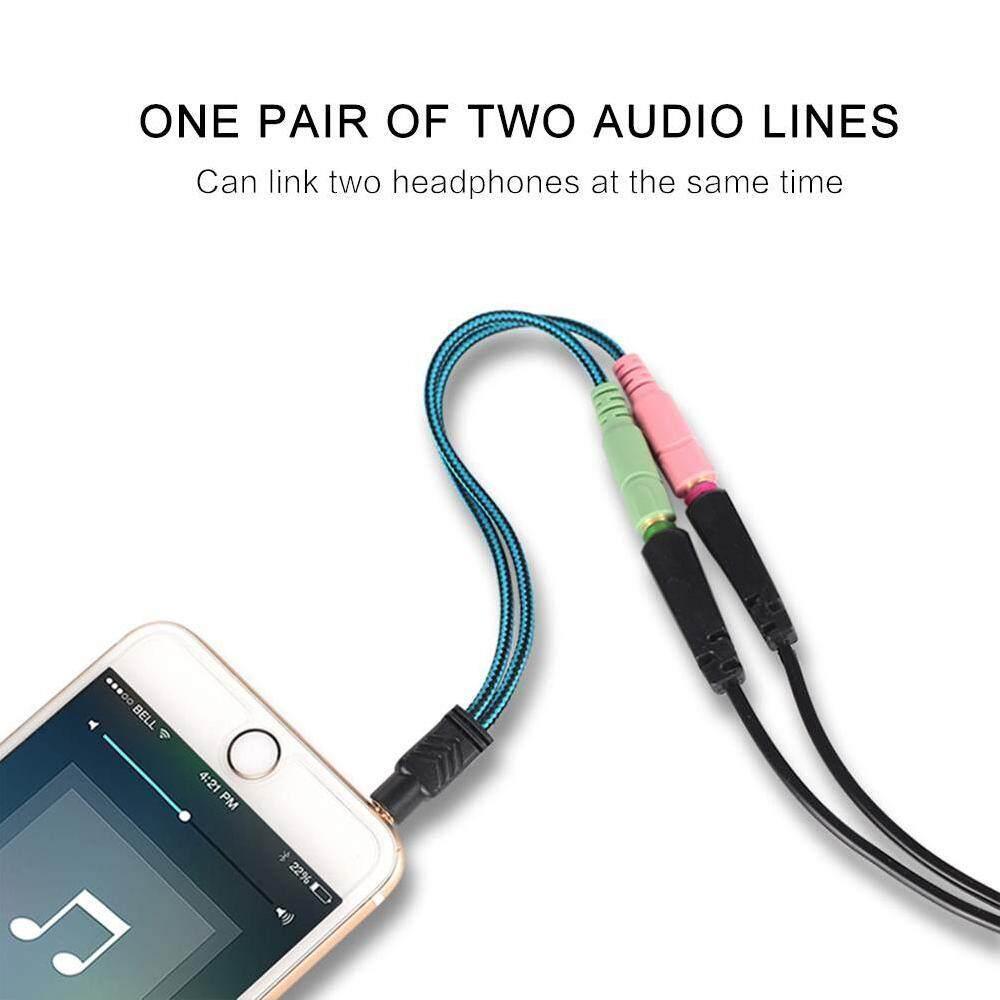 Yifang 3.5 Mm Kabel Colokan Adaptor Headset Y Pembagi Audio 2 Female Ke 1 Pria untuk Laptop PS4 Telepon Xbox One Earphone Headphone