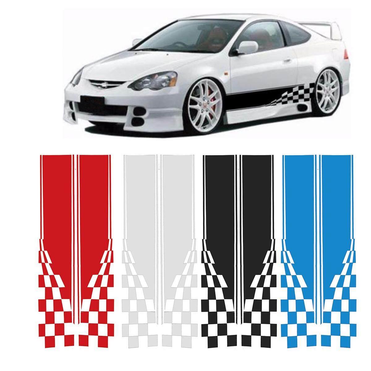 2X Black Checkered Flag Decals Sports Racing Race Car Long Stripe Vinyl Decals