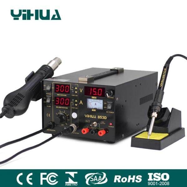 YIHUA 3 in 1 Soldering Station SMD Rework Iron Hot Air Welding Tool DC Power Supply 853D