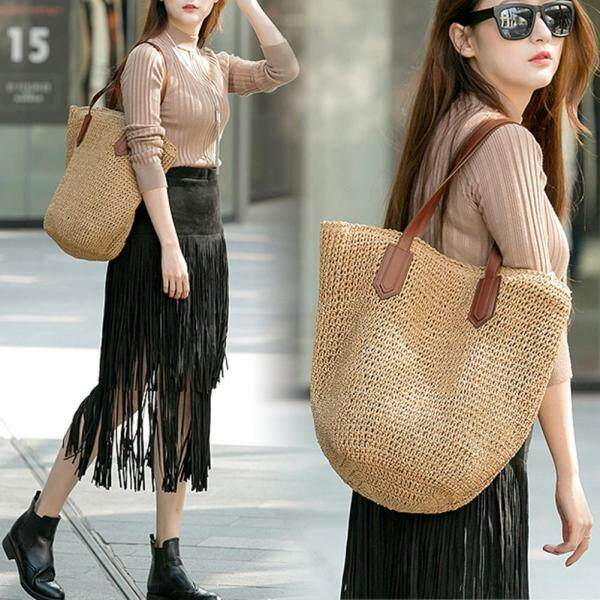 [Pinfect] Summer Beach Boho Paper Rope Straw Weaving Shoulder Handbags Women Casual Large Capacity Top-handle Bags Shopping Totes