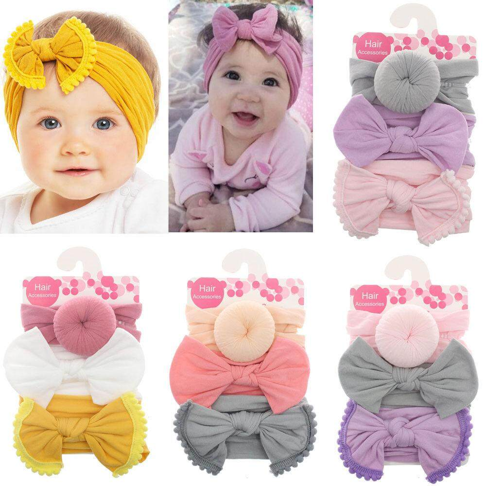 1fcf2ee4f Toddler Girl Kid Baby Big Bow Hairband Headband Stretch Turban Head Wrap  3pcs