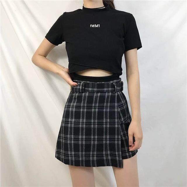 b68de4d15 ELEXS falda de verano mujeres de cintura alta de Plaid falda de moda Casual  Kawaii estudiante Faldas Pantalones cortos E2119,Negro,S