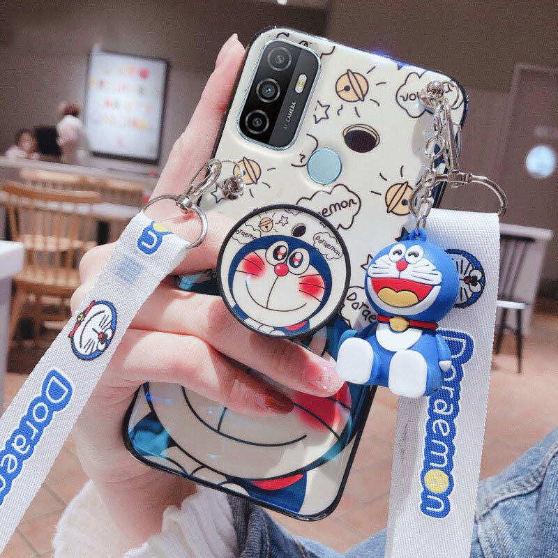 Dành Cho OPPO Ốp A53 Ốp Điện Thoại Doraemon Bluray 3D Dễ Thương Có Giá Đỡ + Dây Đeo Chéo Có Thể Điều Chỉnh Ốp Lưng Bằng TPU Mềm Cho Nữ thumbnail