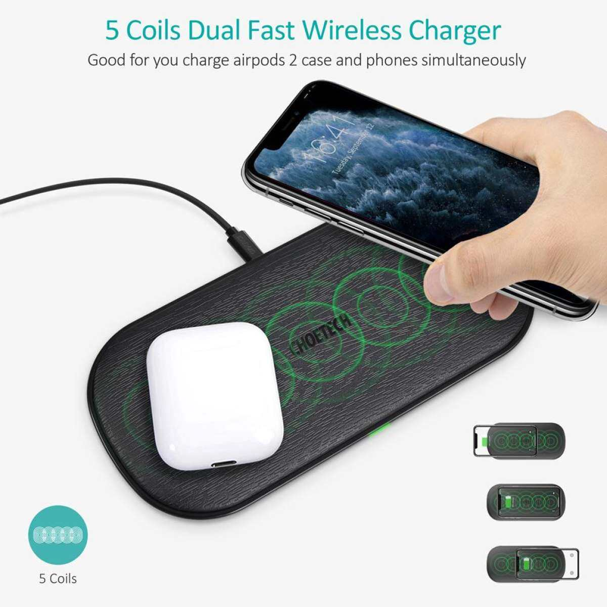 CHOETECH Dual ที่ชาร์จแบบไร้สาย, 5 Coils Qi Certified Fast แท่นชาร์จแบตเตอรี่แบบไร้สายใช้งานร่วมกับ iPhone 11/11 PRO MAX/X/XS/XS MAX, samsung Galaxy Note 10/หมายเหตุ 10 +/S10/S10 +,AirPods Pro