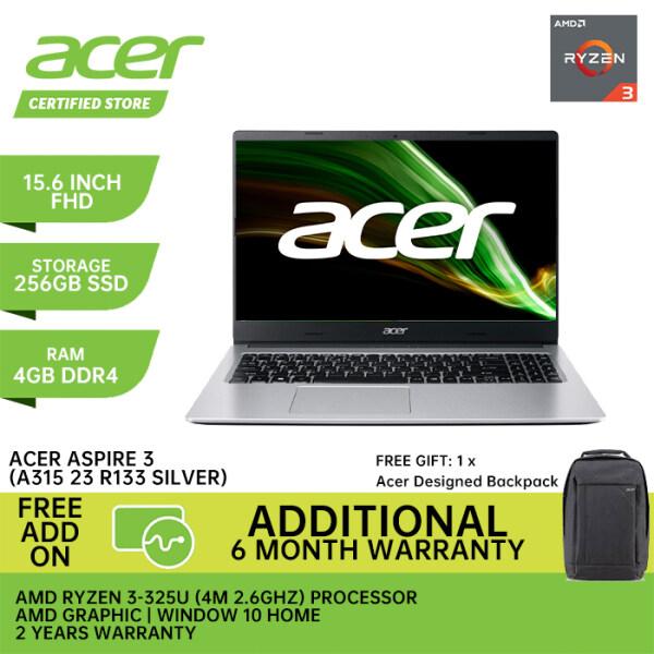 Acer New Laptop Aspre 3 R133 R6UX (15.6 Inch FHD LED / AMD Ryzen 3 3250U / 4GB Ram / 256GB PCIE NVME SSD / AMD RADEON VEGA / Window 10 / 2 Years Warranty) Malaysia