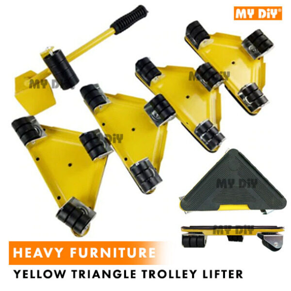 MYDIYHOMEDEPOT - Heavy Furniture Lifter Mover Transport Lift Move Slides Trolley Yellow Triangle / Transport Dollies