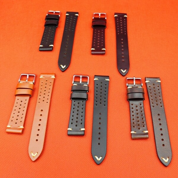 Premium Rally Racing Leather 20mm Watch Strap in Various Colour Malaysia
