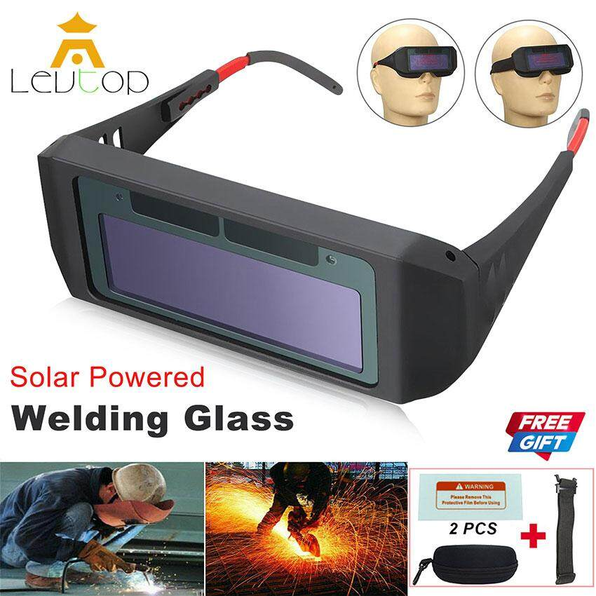 LEVTOP Solar Auto Darkening Welding Glasses Safety Goggles Helmet Mask Eyewear Eye Protection Eyes Solar Powered Tools with 2 Replaceable PC Screen Protectors