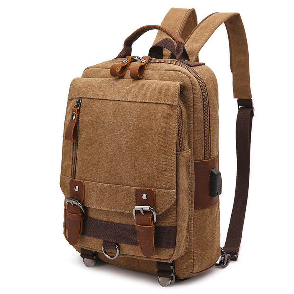 Aolvo Canvas Backpack With Usb Charging Multifunction Leather Trim Casual  Bookbag Men Women Laptop Travel Rucksack e2cc6c248fd22