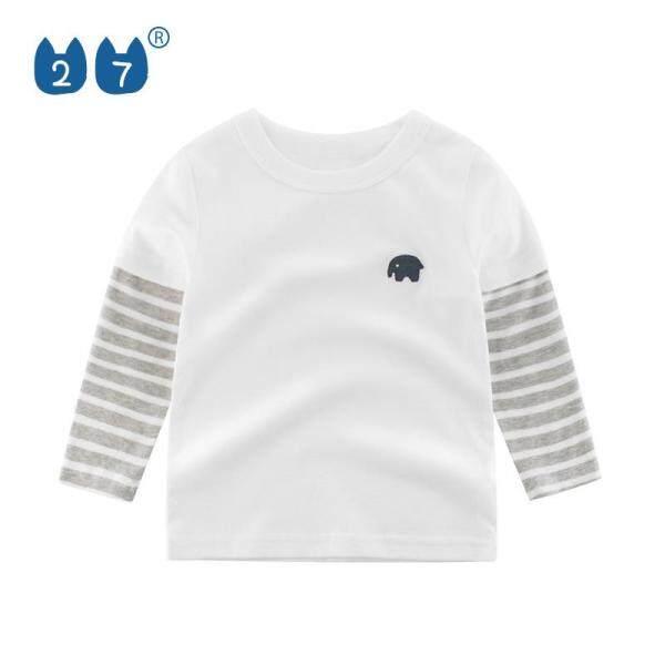 27Kids Store trẻ em áo thun cho bé trai 1-8 tuổi bé gái dài tay tinh khiết Màu Đỏ tinh khiết logo sọc đơn giản baju Raya 2020 kanak kanak