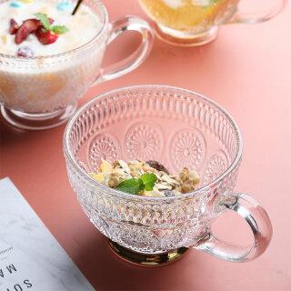 YOHOLOO Cốc Uống Trà Cà Phê Thủy Tinh Trong Suốt 400Ml Cốc Sữa Chua Tráng Miệng Sáng Tạo Cốc Cứu Trợ Phnom Penh Sáng Tạo Kính Pha Lê Chịu Nhiệt Có Tay Cầm, Đồ Uống thumbnail