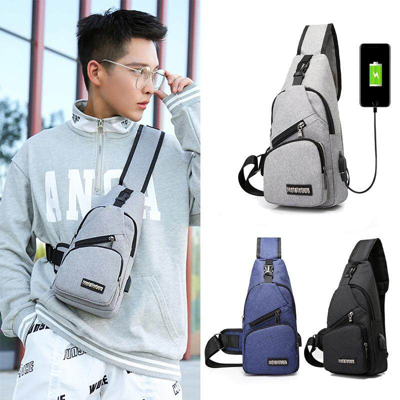 Sling Bag Men Chest Shoulder Backpack Crossbody Bag with USB Charging Port for Women Hiking Cycling Camping Daypacks image on snachetto.com