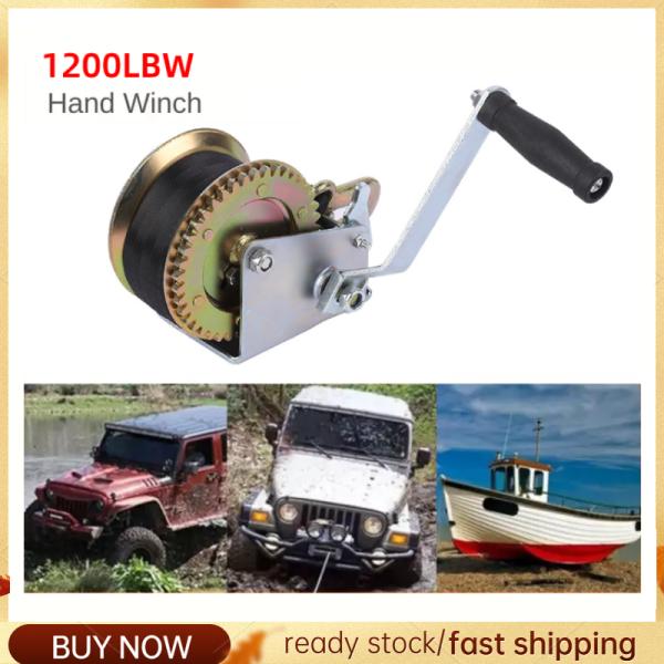 1200LBW Safety Belt Bag Hand Winch Hand Winch For Caravan Strap Length Marine Pull Boat Trailer