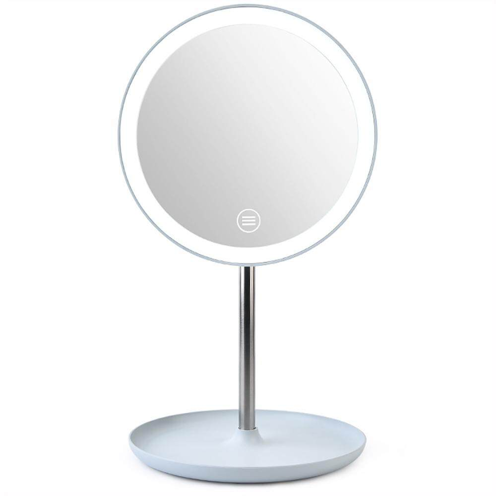 LED Makeup Vanity Mirror - Round LED USB Dressing Mirror Desktop Bedside Lamp Single Mirror with Storage Tray, Dimmable Light, Touch Screen, 360° Adjustable Rotation, Dual Power Supply