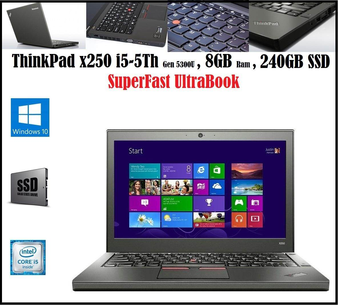 Lenovo ThinkPad X250 12.5-Inch Laptop (Intel Core i5 2.3 GHz, 8 GB RAM, 240 GB SSD, Windows 8.1 Malaysia