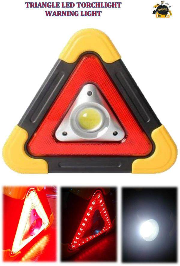 TRIANGLE LED TORCHLIGHT WARNING LIGHT USB CHARGER SOLAR POWER