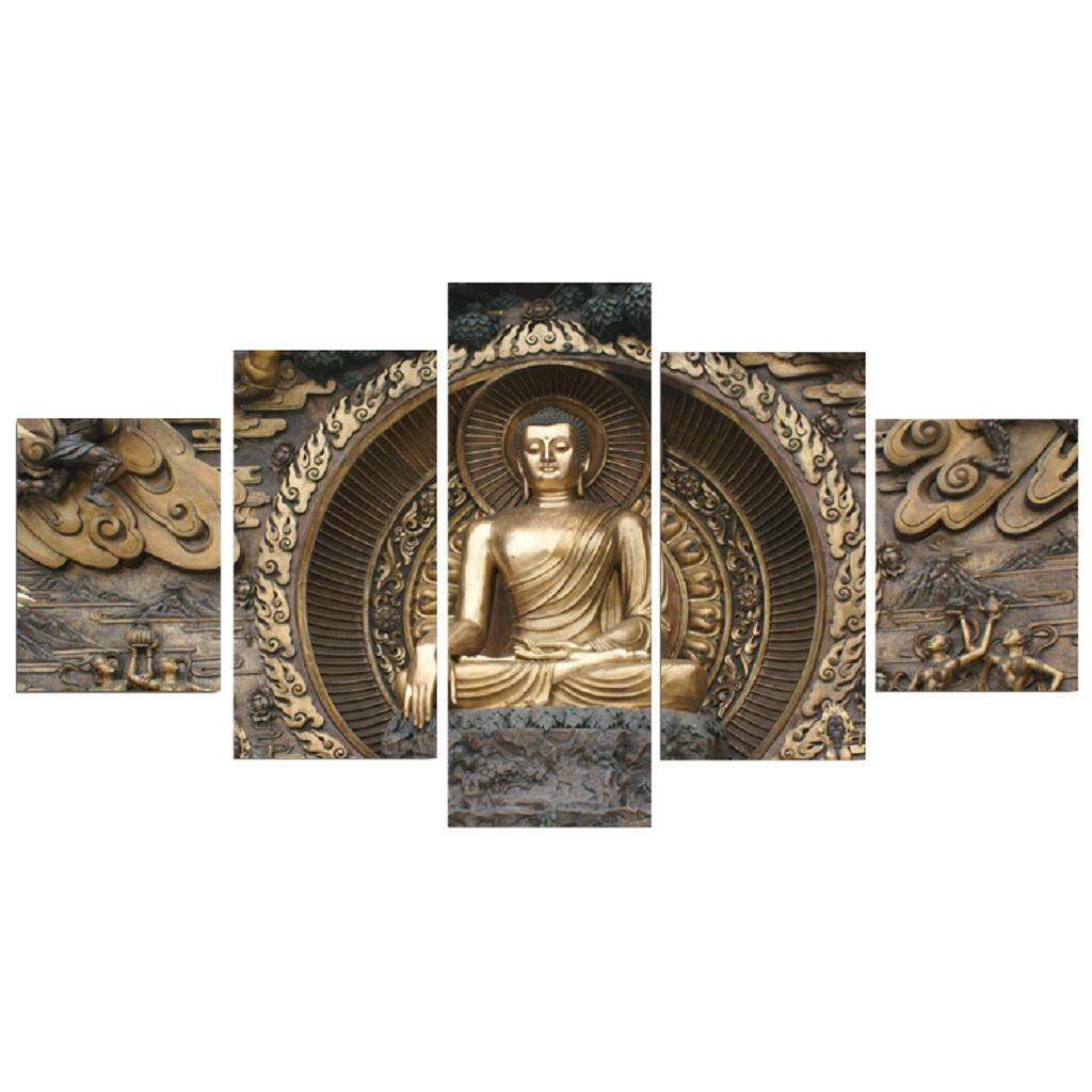 Perfk 5 Pieces Modern Buddha Home Wall Canvas Prints Painting Abstract Artwork S / L