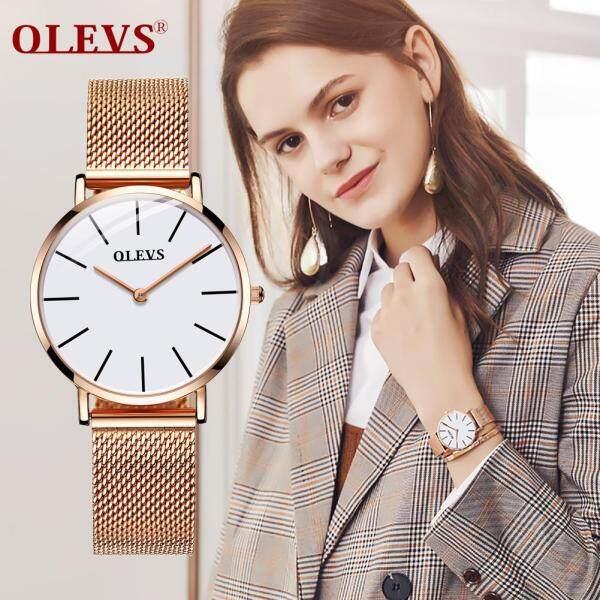 olevs Women  watch quartz Ladies watches luxury brands Rose gold metal Stainless steel mesh watch women Ultra-thin Malaysia