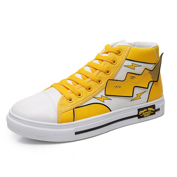 Mens Pikachu Shoes Sneakers Autumn Winter PU Leather Classic High Top Men Vulcanized Shoes Casual Mens Boots Male giá rẻ