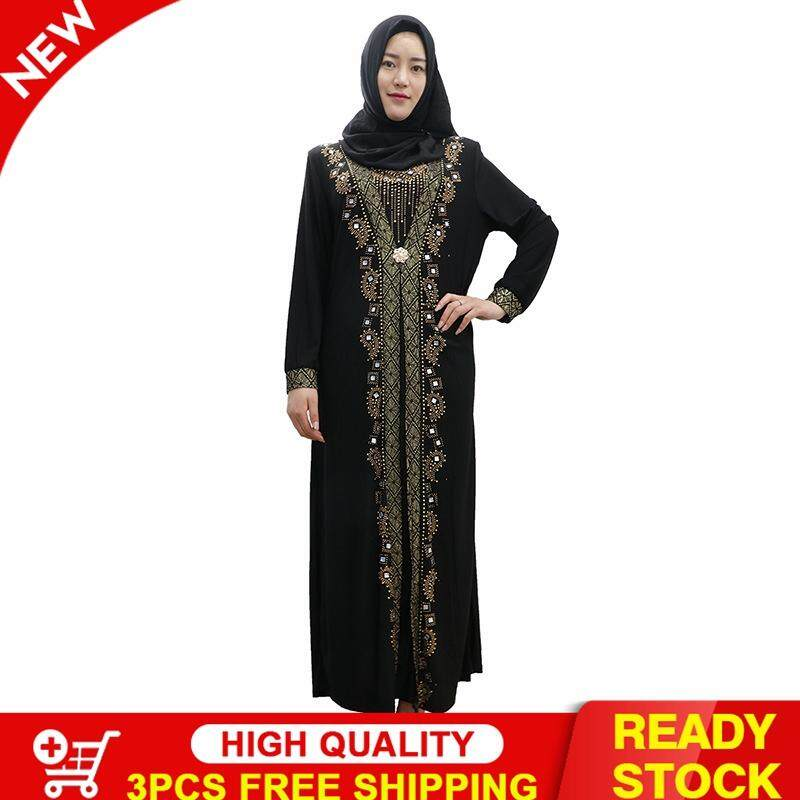 ad6d460dff573 Victory New Female Muslim Black Hot Drilling Printing A Word Skirt Robe  Muslim Eid Abaya(