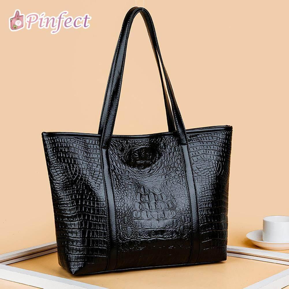 Women Vintage Crocodile Leather Handbag Large Capacity Shoulder Shopping Bag