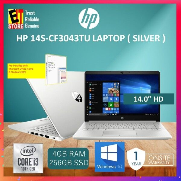 HP 14S-CF3043TU LAPTOP - SILVER (I3-1005G1/4GB/256GB SSD/14 HD/UHD Graphics/W10/2YRS)+ Off H&S Malaysia